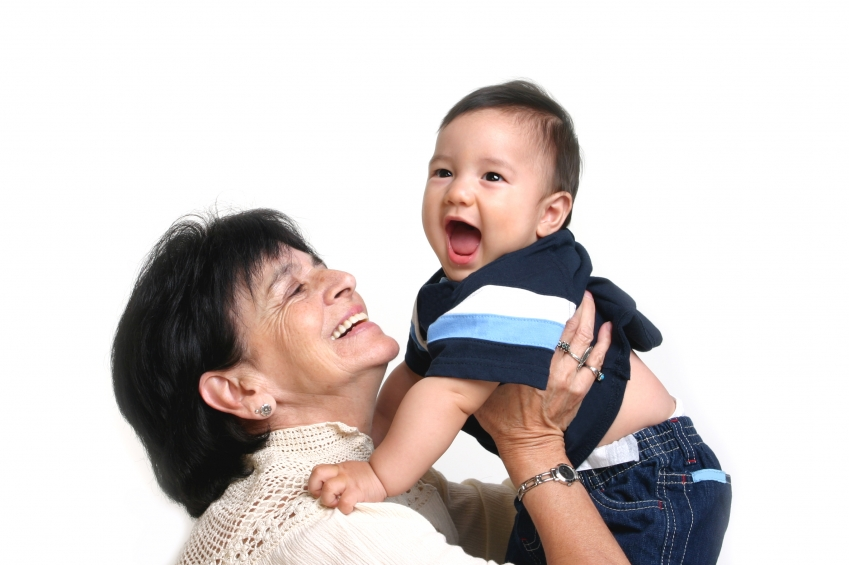 baby and woman